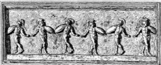 A military dance, supposed to be the Corybantum. From a Greek bas-relief in the Vatican Museum.
