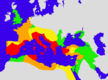 The extent of the Roman Empire in 133 BC, in 44 BC, in AD 14, and in AD 117.